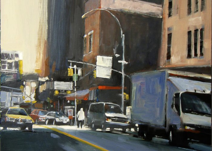 New York City Greeting Card featuring the painting Gallery District by Patti Mollica