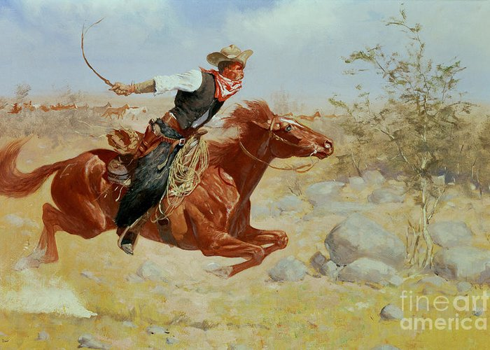 Galloping Horseman Greeting Card featuring the painting Galloping Horseman by Frederic Remington