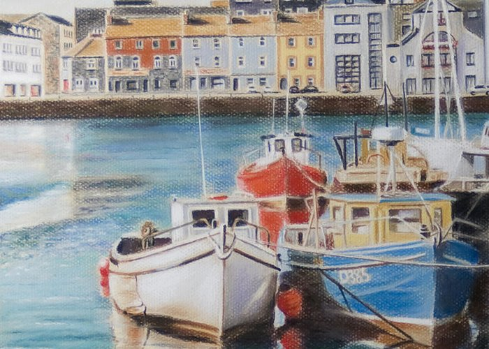 Galway Harbour Greeting Card featuring the painting Galway Harbour by Vanda Luddy