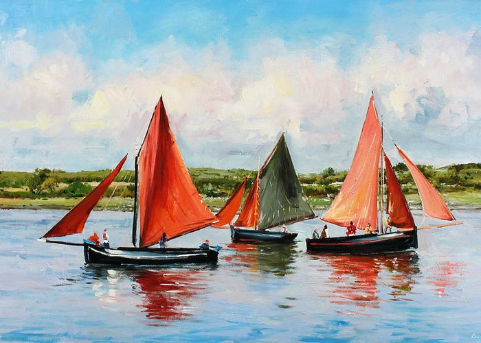 Galway Hooker Greeting Card featuring the painting Galway Hookers by Conor McGuire