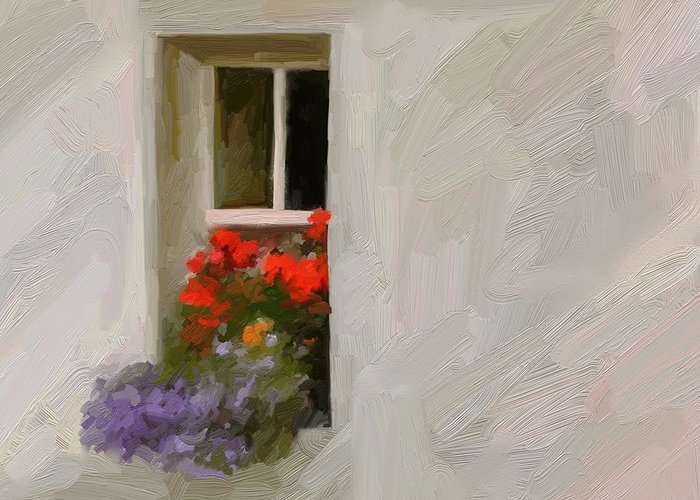 Art Painting Landscape Greeting Card featuring the digital art Galway Window by Scott Waters