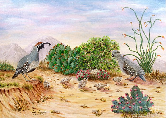 Southwest Art Greeting Card featuring the painting Gambel Quails Day In The Life by Judy Filarecki