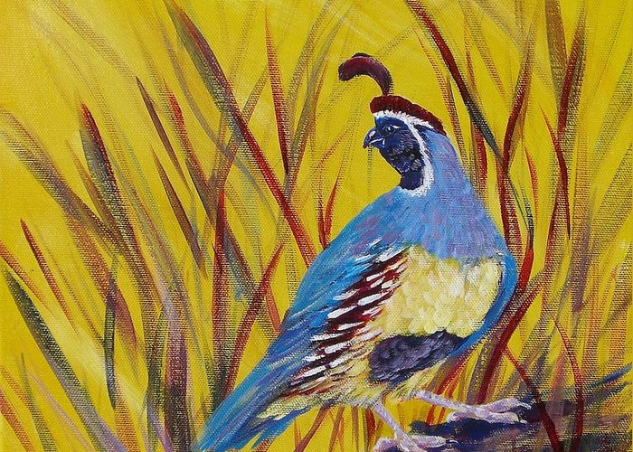 Southwest Greeting Card featuring the painting Gamble Quail by Summer Celeste