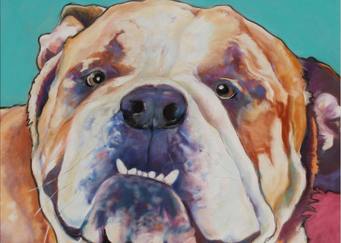 Pat Saunders-white Pet Portraits Greeting Card featuring the painting Game Face  by Pat Saunders-White