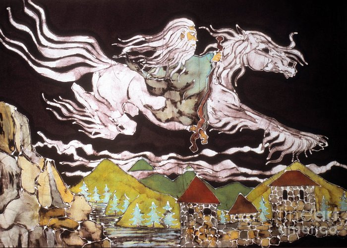 Lord Of The Rings Greeting Card featuring the tapestry - textile Gandalf And Shadowfax by Carol Law Conklin