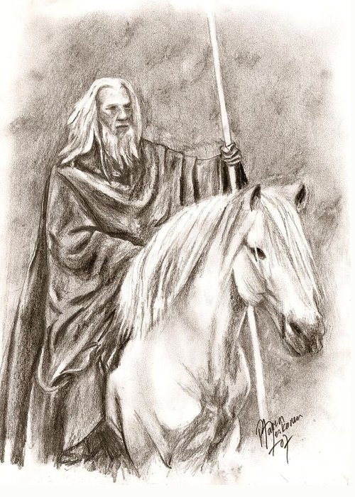 The Lord Of The Rings Greeting Card featuring the drawing Gandalf With Shadowfax by Maren Jeskanen
