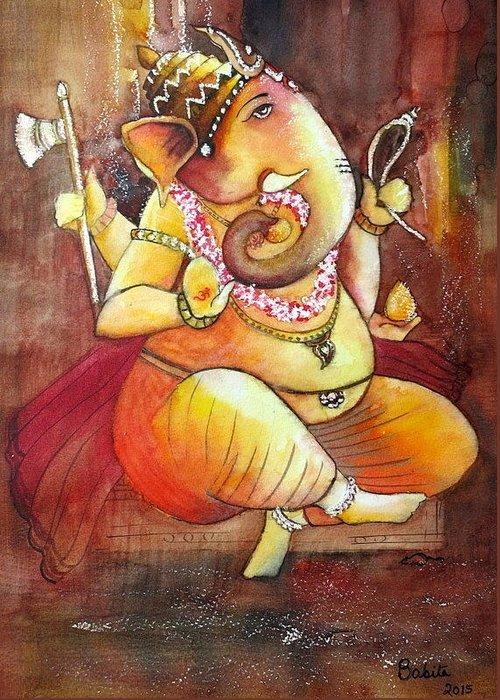 Ganesha Greeting Card featuring the painting Ganesha by Babita Saxena