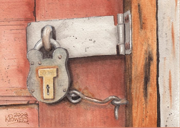 Lock Greeting Card featuring the painting Garage Lock Number Four by Ken Powers