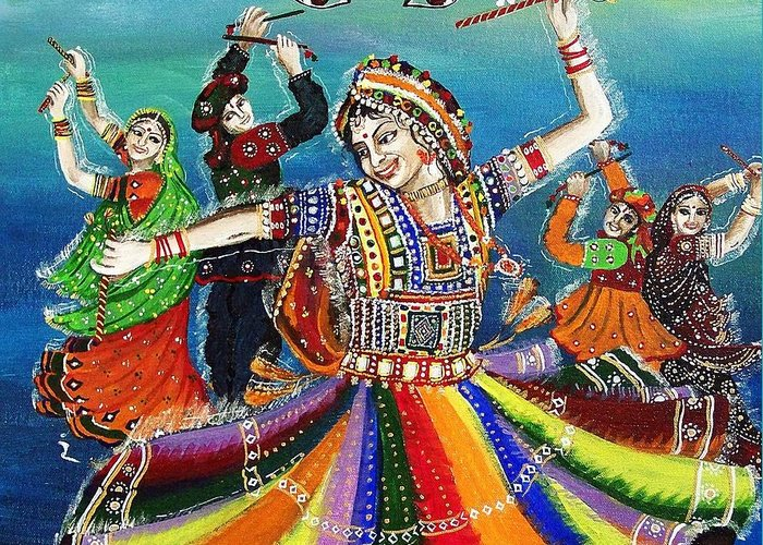 Dance Greeting Card featuring the painting Garba by Ivy Sharma