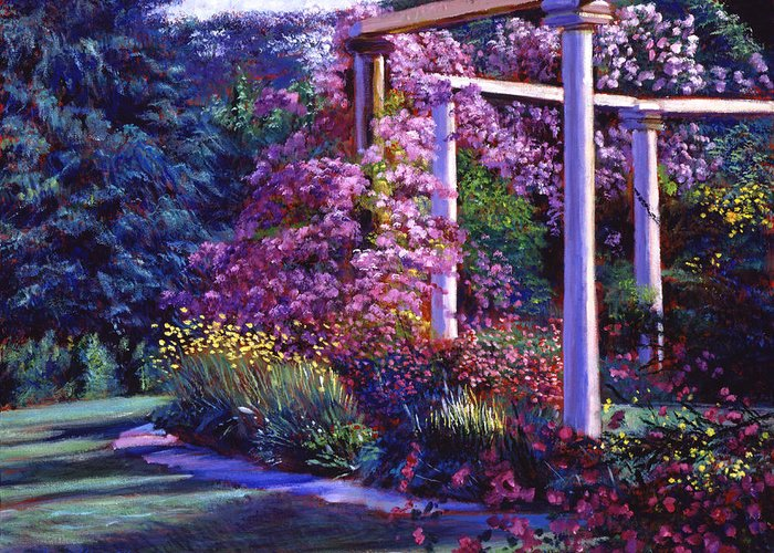 Gardens Greeting Card featuring the painting Garden Arbor by David Lloyd Glover