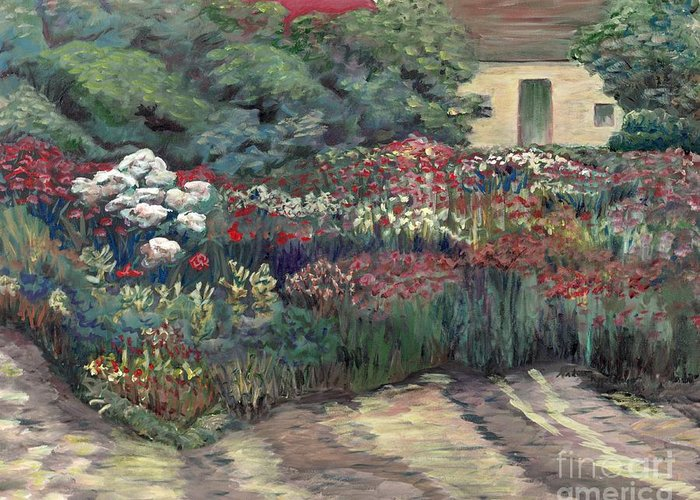 Breck Greeting Card featuring the painting Garden At Giverny by Nadine Rippelmeyer