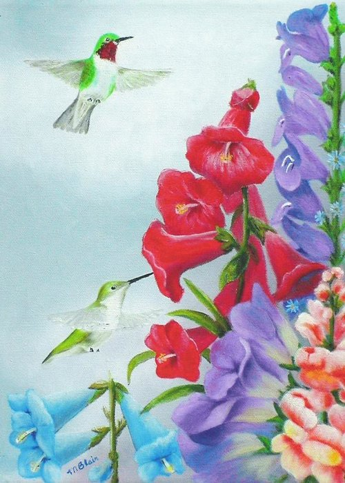 Birds Greeting Card featuring the painting Garden Beauties by Merle Blair