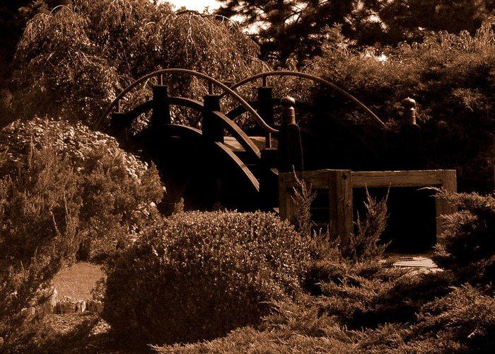 Sepia Greeting Card featuring the photograph Garden Bridge by Audrey Venute