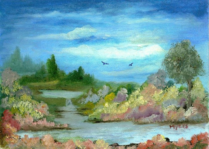Sky Greeting Card featuring the painting Garden By A Stream by Rhonda Myers