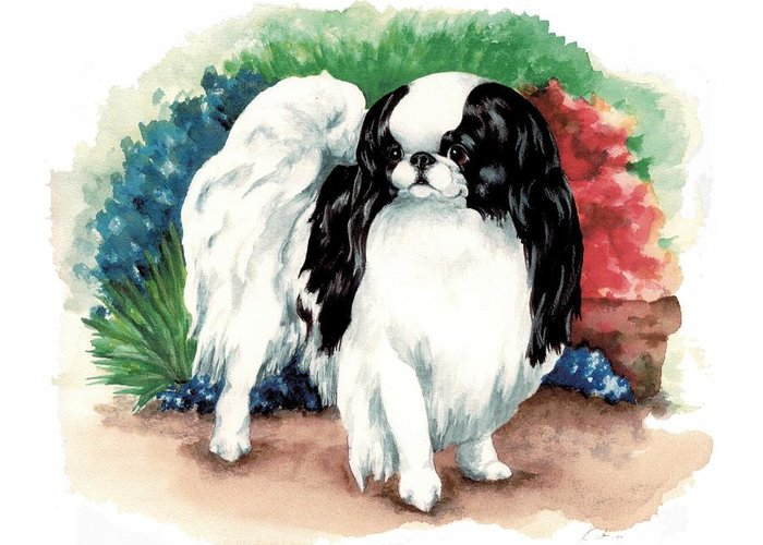 Japanese Chin Greeting Card featuring the painting Garden Chin by Kathleen Sepulveda