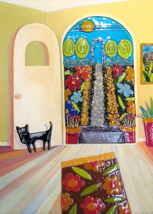 Garden Greeting Card featuring the mixed media Garden Door by Anne Nye