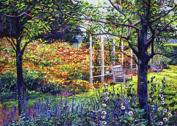 Gardens Greeting Card featuring the painting Garden For Dreaming by David Lloyd Glover