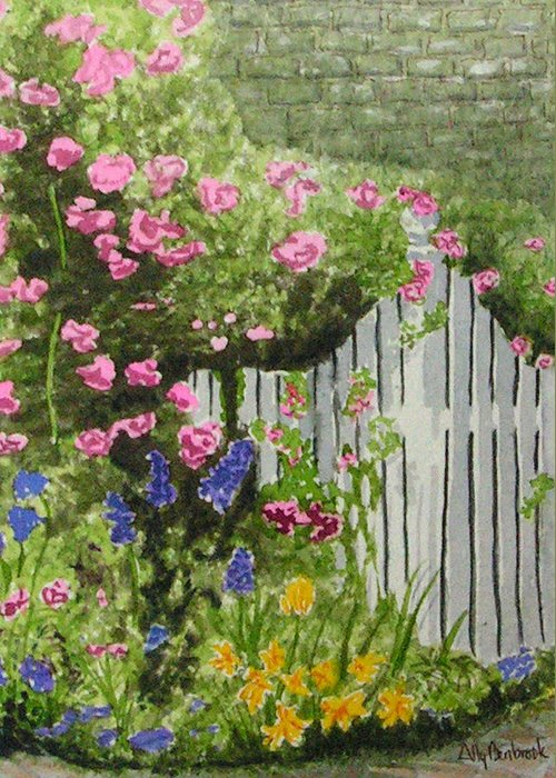 Garden Greeting Card featuring the painting Garden Gate by Ally Benbrook