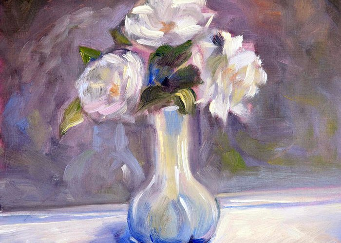 Rose Greeting Card featuring the painting Garden Icebergs by Athena Mantle