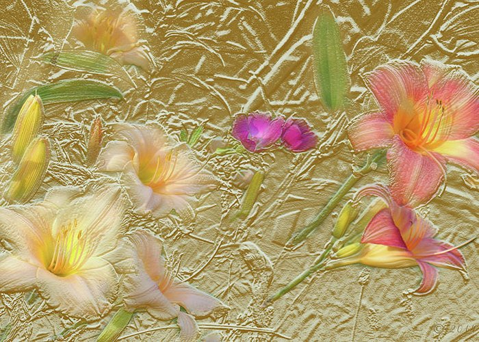 Garden Greeting Card featuring the mixed media Garden in Gold Leaf2 by Steve Karol