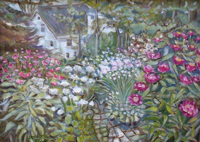 Flower Gardens Landscape Flowers Greeting Card featuring the painting Garden by Joseph Sandora Jr