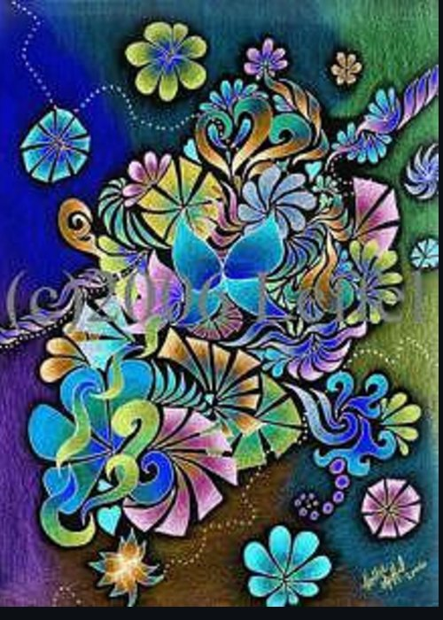 Colorful Greeting Card featuring the drawing Garden Of Eden Invert by Hollie Leffel