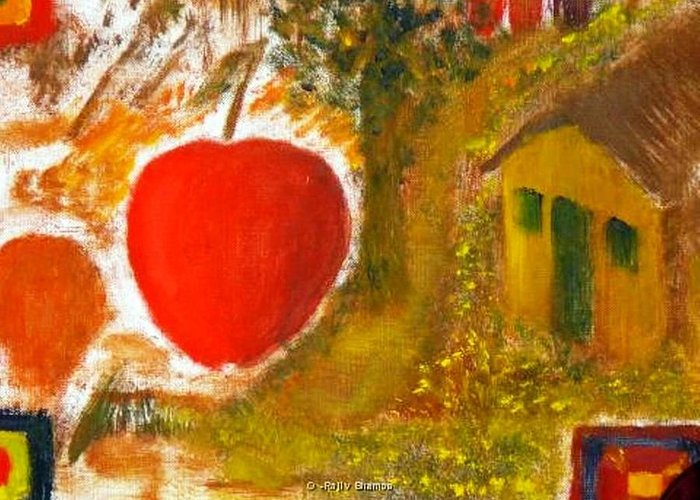 Abstract Apple Adam Ave Greeting Card featuring the painting Garden Of Eden by R B