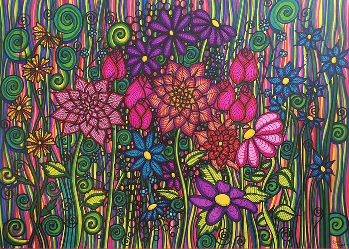 Flowers Greeting Card featuring the drawing Garden Of Happiness by Ellen Jagger