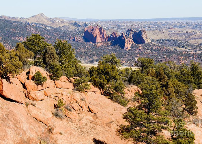 Garden Of The Gods Greeting Card featuring the photograph Garden Of The Gods And Springs West Side by Steve Krull