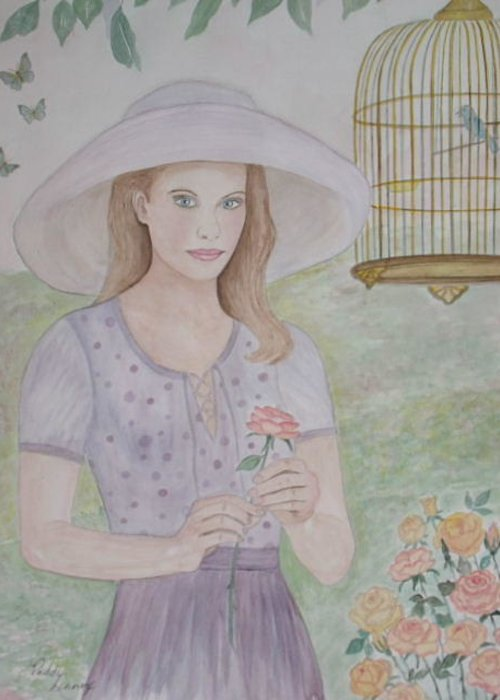 Young Lady Greeting Card featuring the painting Garden Party by Patti Lennox