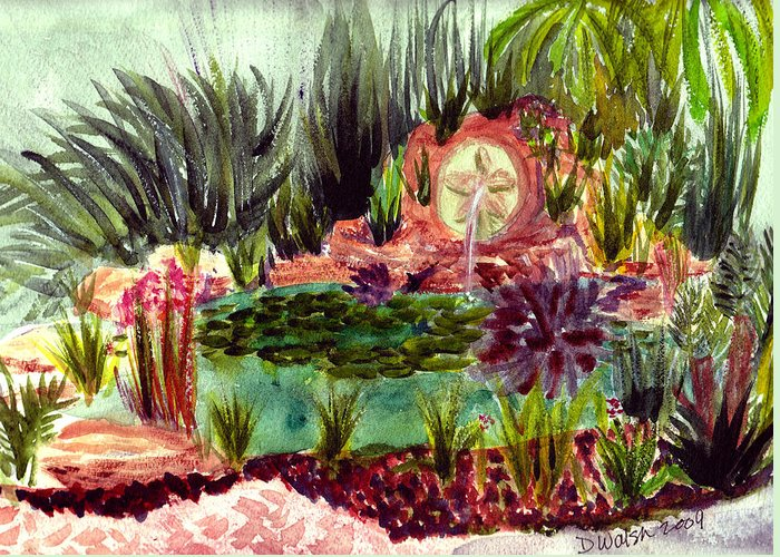 Garden Greeting Card featuring the painting Garden Path by Donna Walsh