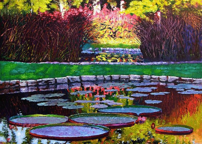 Garden Ponds Greeting Card featuring the painting Garden Ponds - Tower Grove Park by John Lautermilch