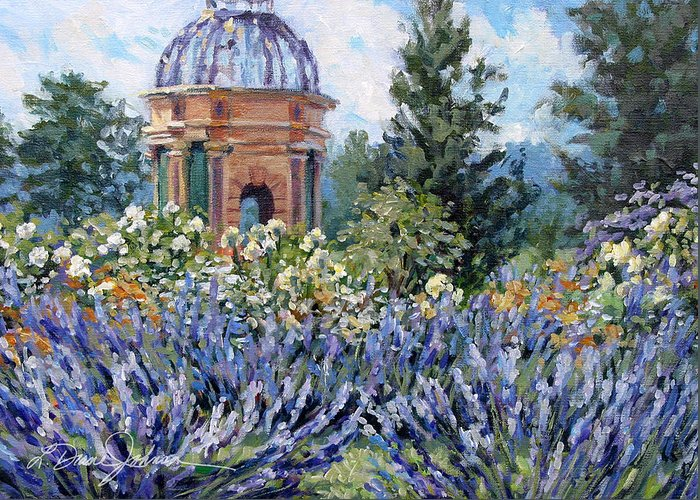 Provence France Greeting Card featuring the painting Garden Profusion - Lavendar by L Diane Johnson