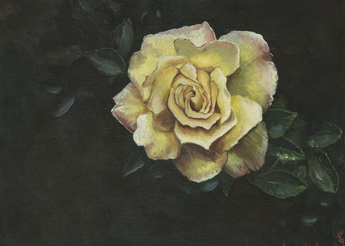 Rose Greeting Card featuring the painting Garden Rose by Jeff Brimley