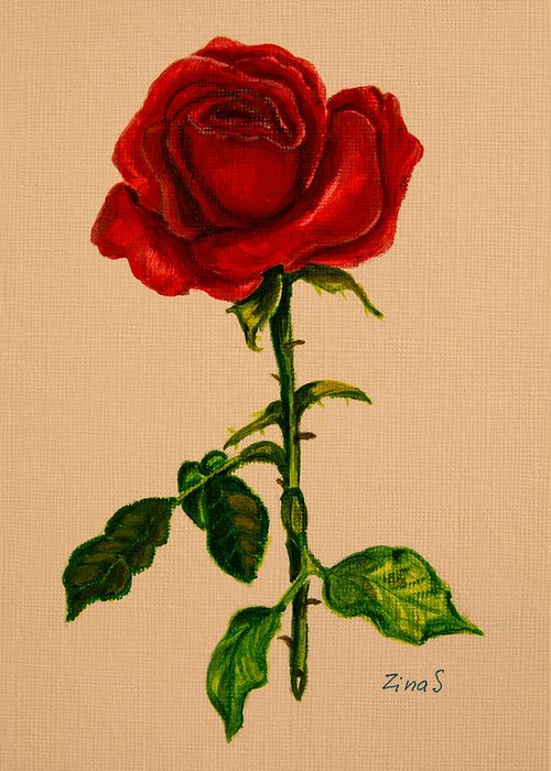 Red Rose Greeting Card featuring the painting Garden Rose by Zina Stromberg