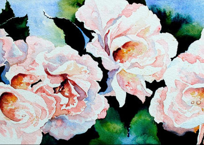 Pink Roses Greeting Card featuring the painting Garden Roses by Hanne Lore Koehler
