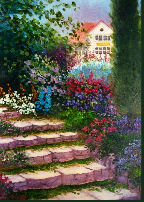 Cottage Greeting Card featuring the print Garden Steps by Jeanene Stein