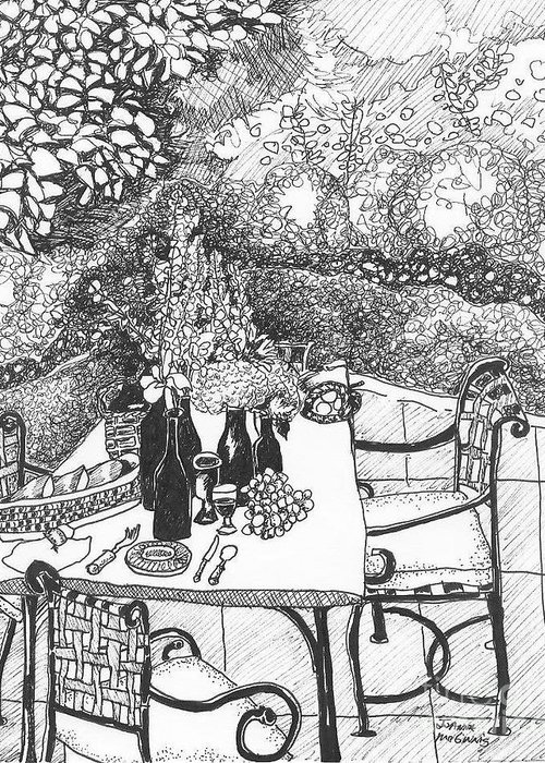 Still Life Greeting Card featuring the drawing Garden Table by Jo Anna McGinnis