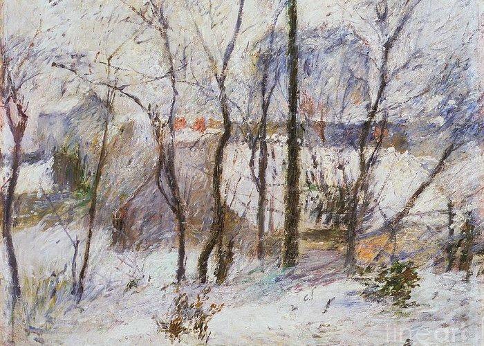 Garden Under Snow Greeting Card featuring the painting Garden Under Snow by Paul Gauguin