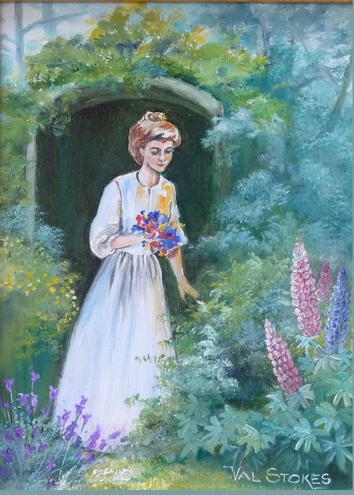 Garden Greeting Card featuring the painting Garden Walk - B by Val Stokes
