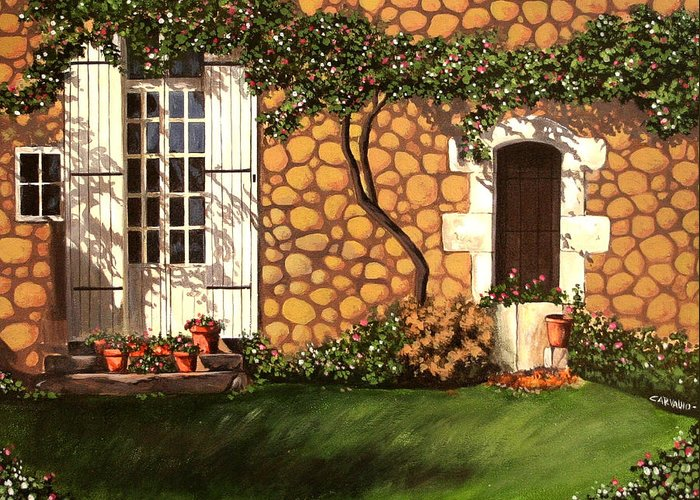Garden Greeting Card featuring the painting Garden Wall by Daniel Carvalho