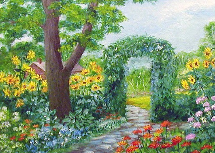 Landscape;garden;sunflowers;archway;stone Path;summer; Greeting Card featuring the painting Garden With Sunflowers by Lois Mountz