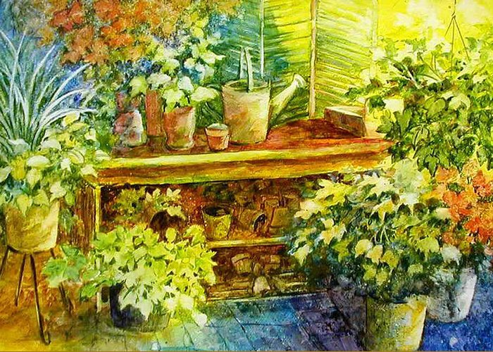 Greenhouse;plants;flowers;gardener;workbench;sprinkling Can;contemporary Greeting Card featuring the painting Gardener's Joy by Lois Mountz