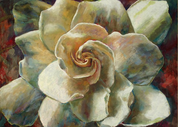 Billie J Colson Floral Art Greeting Card featuring the painting Gardenia by Billie Colson