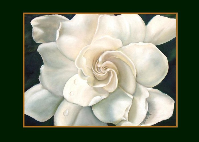 Gardeniaflower Greeting Card featuring the painting Gardenia by Darlene Green