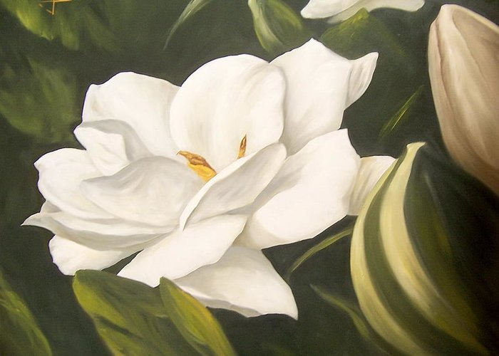 Gardenia Flower Greeting Card featuring the painting Gardenia by Natalia Tejera