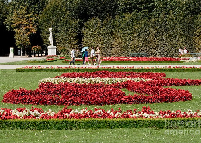 Schonbrunn Palace Hapsburg Vienna Austria Castle Garden Greeting Card featuring the photograph Gardens Of The Schloss Schonbrunn Vienna Austria by Thomas Marchessault