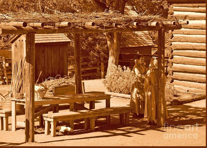Sepia Greeting Card featuring the photograph Gardiner Cabin - Circa 1800's by Dennis Hammer