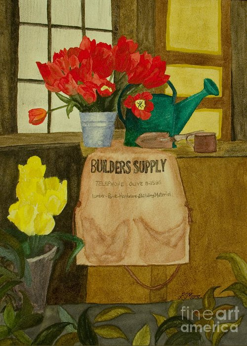 Tulips Greeting Card featuring the painting Gardner by Louise Magno