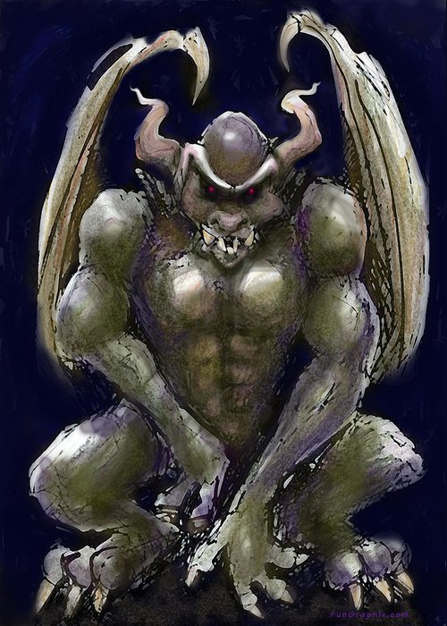 Gargoyle Greeting Card featuring the greeting card Gargoyle by Kevin Middleton